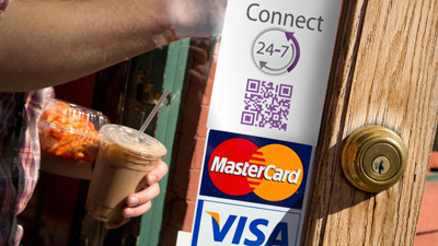 POSgard Payment order reservation always open for business customer MasterCard Visa sticker front door shop window advertisement